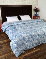 Floral Block Print Blue And White Quilts Duvet Covers