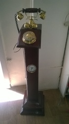 Stand Type Antique Telephone With Clock