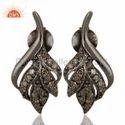 925 Silver Pave Diamond Studs Earrings