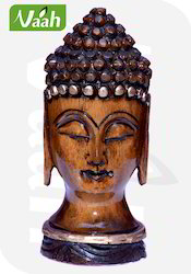 Wooden Buddha Face Antique Colored