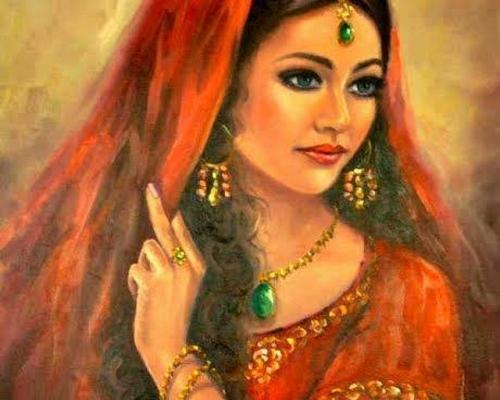 Traditional indian woman painting