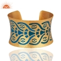 18k Yellow Gold Plated Brass Wide Cuff Bracelet