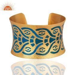 Gold Plated Brass Enamel Cuff Bracelet