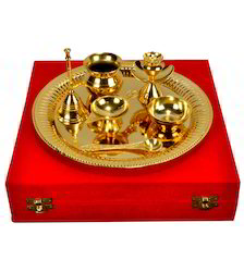 VESPL Traditional Gold Plated Brass Pooja Thali For Family