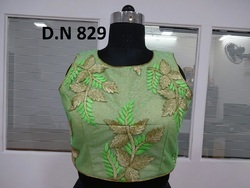 Light Green Fancy Net Embroidered Stitched Blouse