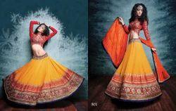 Orange Heavy Embroidery Designer Lehenga Choli