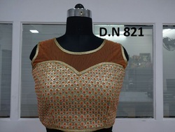Silver & Orange Net Sequence Work Stitched Blouse