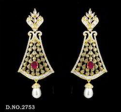 Traditional Ruby Pearl Earrings