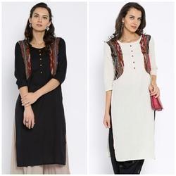 Cotton Flex Kurta With Ikkat Patch Jacket Type