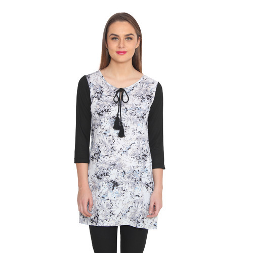 Rayon Floral Tunic With Tassel