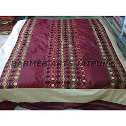 Bed Cover Silk Embroidery Rangoli Design