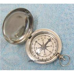 Brass Made Push Button Compass For Direction Detect