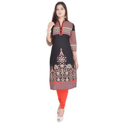 Chinese Collar Black Cotton Kurti 435
