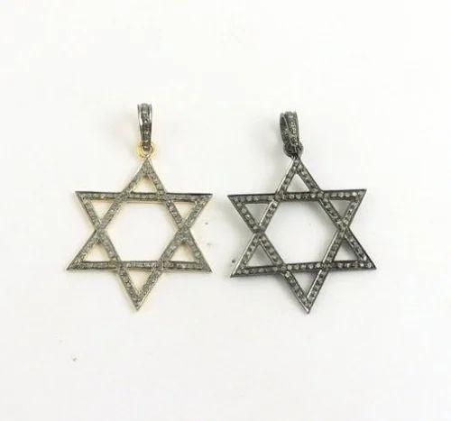 Cubic Zirconia Pave Set Oxidized Silver Star Pendant