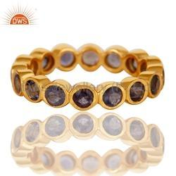 Gold Plated Gemstone Band Ring