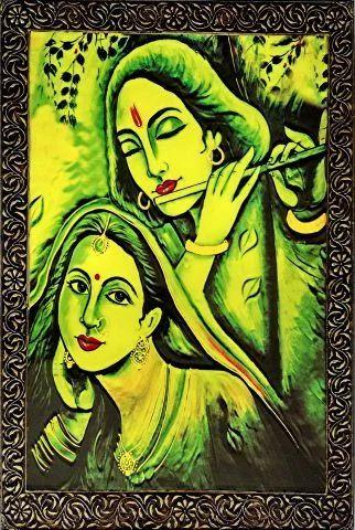 Size 24 by 36 Embossed Wall Decor - Wall Decor Radha Krishna ...