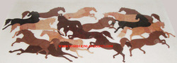 Horse Design Marble Inlay Wall Panel