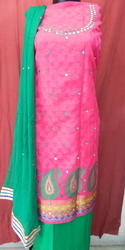 Aaditri Sky And Pink Banarasi Silk Suit