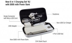 New 6 in 1 Charging Set with 5000mAh Power Bank