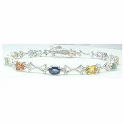 Multi Sapphire Gemstone  925 Sterling Bracelet