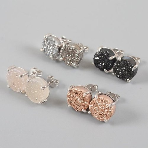 Druzy Prong Set Stud Earring