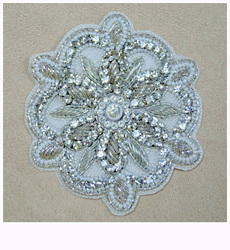 Hand Embroidered Zardosi Diamond Motif (Silver)