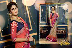 Stylish Designer Embroidery Worked Saree