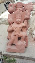 Red Marble Hanuman Statue
