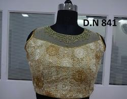 Off-White Embroidered Net Handwork stitched Blouse