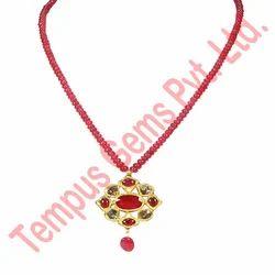 Polki Diamond with Enamel Work Ruby Pendant