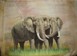 Elephant Couple Silk Painting