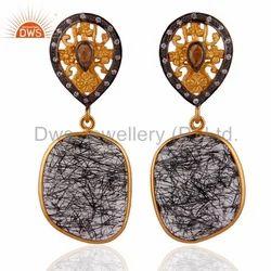 925 Silver Black Rutile Quartz Earrings