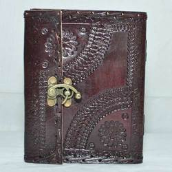 Junkyard Leather Journal Diary With Handmade Paper- Brick
