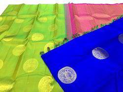 Pure Kanchipuram Silk Partly Pallu Sarees