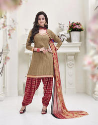 Beige Cotton Dress Material