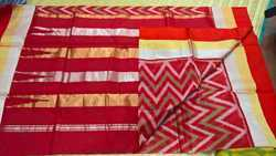 Ikkat Cotton Silk Sarees With Silk Border