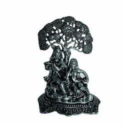 White Metal Radha Krishna Statue