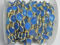 Blue Chalcedony Bezel Set Gemstone Chain