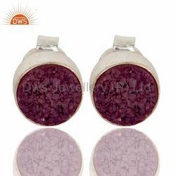 Druzy Agate 925 Silver Stud Earrings