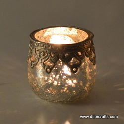 Glass Silver Votive Holder