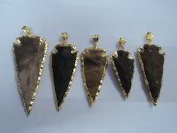 gold electroplated gemstone arrowhead pendant