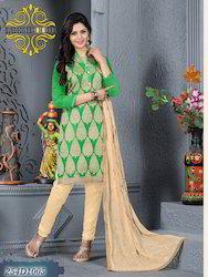 Ladies Green and Beige Churidar Suit
