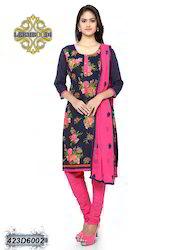 Ladies Pink and Black Churidar Suit
