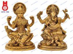 Lord Laxmi & Ganesh Sitting On Lotus W/Shawl Statue