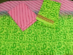 Aaditri Clothing Green And Pink Cotton Suit