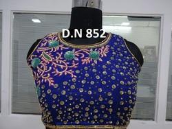Blue Banarasi Silk 100% Handwork Stitched Blouse