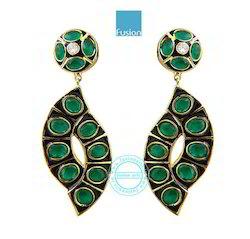 Ethnic Emerald Earring