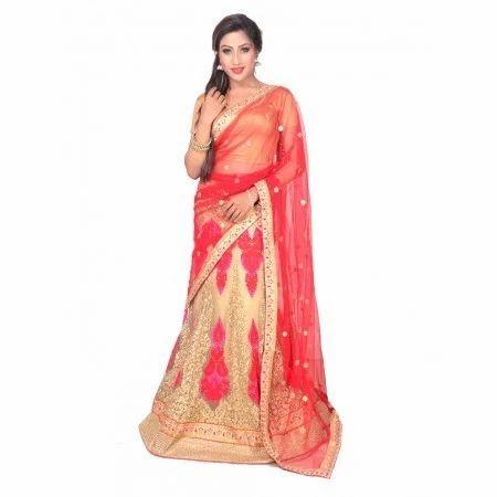 Embroidered Red Lehenga Saree