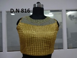 Golden Brocade And Net Stitched Blouse