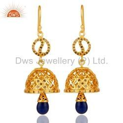 Pave Diamond Sapphire Gemstone Earrings